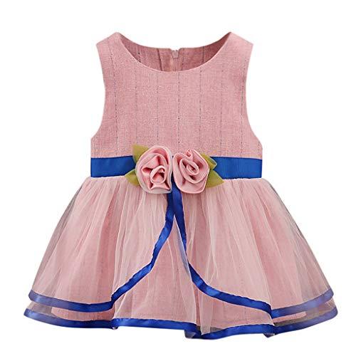 XNBZW Mädchen Kleider Kleinkind Baby Kinder Mädchen Ärmellos Tüll Blumen Geraffte Kleid Prinzessin Kleider 6-12 Monate 12-18 Monate 18-24 Monate 2-3 Jahre(Blau,Höhe90)