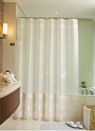 JERN EVA Modern Waterproof Polyester Shower Curtain with 12 Hooks