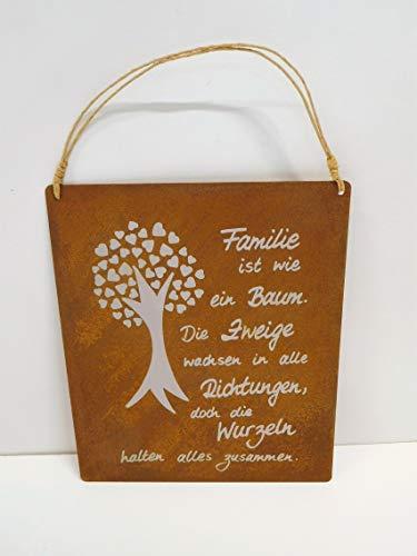 Ziegler Metallschild Edelrost Wurzeln Metall Familie Baum Schild Spruch 0745-75 F77