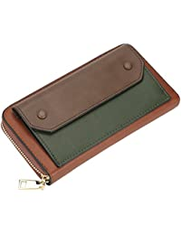 Womens Zipper Clutch Wallet Long Pu Leather Casual Purse Card Phone Holder (Large, Brown / Green) By Lath.Pin