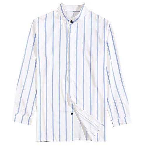 WUSIKY Hemden Herren Hemd Slim Fit Langarm Hawaiihemd Casual Gestreifte Bluse Stehkragen Langarmshirt Oversize Tshirts Männer Oberteile (Blau, XXXL)