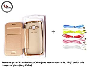 2dots Faux leather flip cover for Samsung Galaxy J-5 (2016 ) Golden With Soft Tpu Back side -Free Offer !!! One pc. of Branded Aux Cable Worth Rs.125/- With Every Tempered Glass (Any of One Color )