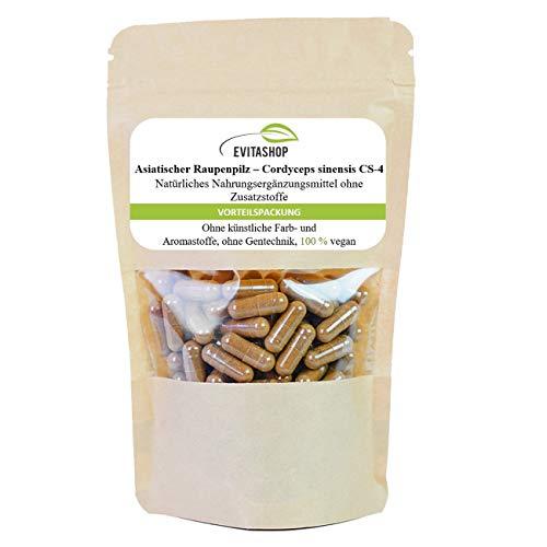 Cordyceps CS4, Cordyceps sinensis, Raupenpilz   1 Packung = 60 x 500 mg   40 % Polysaccharide   500 mg fermentiertes Raupenpilz-Pulver (CS-4) pro Kapsel   Vegane Kapseln   Ohne Zusatzstoffe  Made in Germany