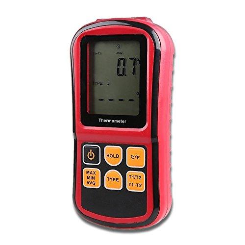 Digital Thermometer Dual Channel Temperaturmessgerät Tragbar Thermoelement temperatur Tester für K/J/T/E/R/S/N mit LCD-Hintergrundbeleuchtung, Daten halten, MAX / MIN / AVG temperatur, Automatische Abschaltung funktion (3 * 1.5V AAA Batterie enthalten)