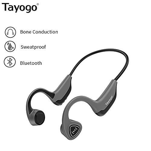 Tayogo S2 Casque Bluetooth Conduction Osseuse Ecouteurs Bluetooth sans Fil Oreille Ouverte(Open-Ear) Hi-FI Stereo avec Microphone Casque Sport Ultra-léger Parfait pour Cyclisme Courir Fitness