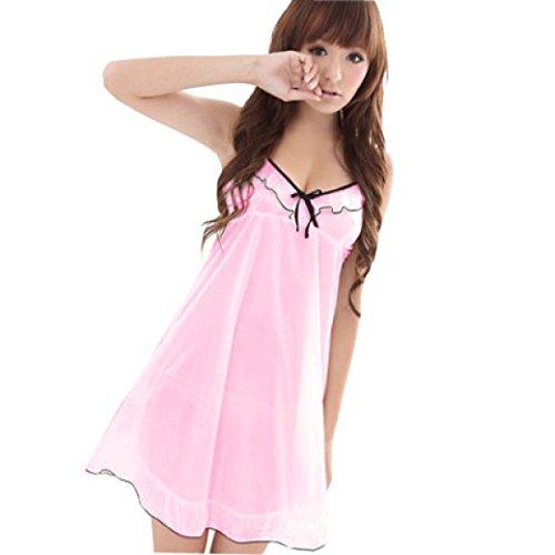 GSHGA Frauen-Sommer-Pyjama Spitze Der Süßen Netten Seidenkleid Rock Riemen-Rock Glatteis Seide Home-Service Pink