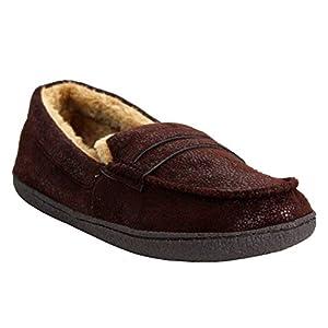 Nuovo da uomo comfort pelliccia foderato leggero e caldo inverno Faux mocassino pantofola scarpe taglia UK 7–12, Marrone