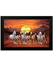 SAF Wooden 7 Running Horses Vastu Painting for Home and Office