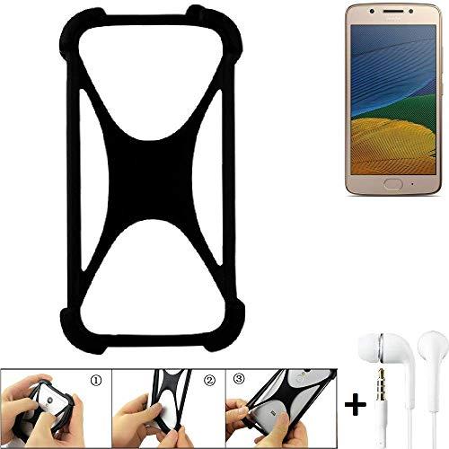 K-S-Trade Handyhülle Lenovo Moto G5 Single-SIM Bumper Schutzhülle Silikon Schutz Hülle Cover Case Silikoncase Silikonbumper TPU Softcase Smartphone, schwarz (1x), Headphones