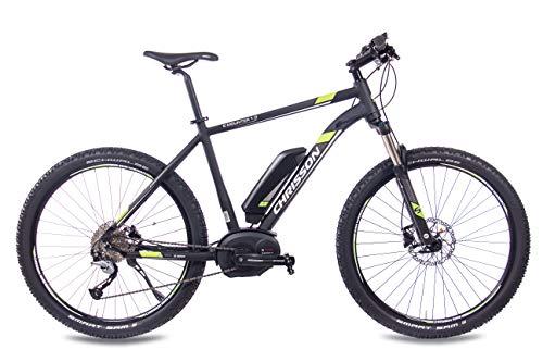 CHRISSON 27,5 Zoll E-Bike, E-Mountainbike Pedelec Elektrofahrrad E-Mounter 1.0 mit Bosch Performance Line Motor und Shimano ACERA Schaltung, schwarz 44 cm