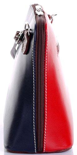 Primo Sacchi Italienisches Leder handgefertigt Marineblau Rot und braun klein/Micro Cross Umhängetasche oder Schultertasche Handtasche.Beinhaltet eine schützenden Aufbewahrungstasche gebrandmarkt. - Cross Handtasche Tasche