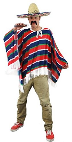 Mexican Poncho One Size Fancy Dress Stag (Männlich West Wild Kostüm)