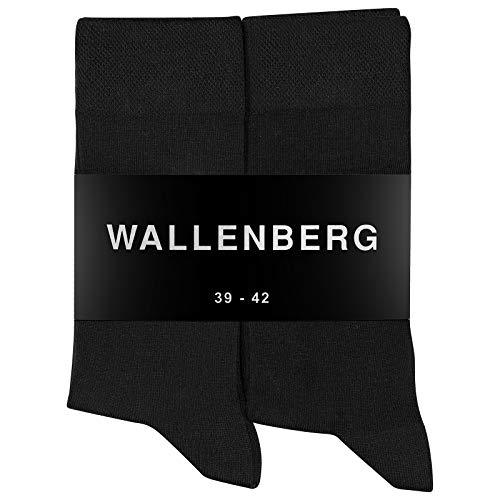 Wallenberg Business Socken Herren Damen Baumwolle 10 Paar (Schwarz) Größe 47-50