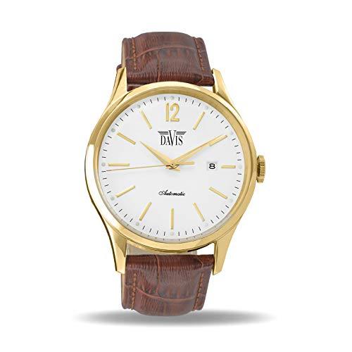 Davis-Orologio Automatico Vintage Uomo (Acciaio Oro/Cinturino in pelle...