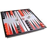 Juego de mesa magnético (versión super mini de viaje): Backgammon - piezas magnéticas, tablero plegable, 13cm x 13cm x 1, 2cm, Mod. SC5220 (DE)