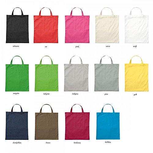 Premium Baumwolltasche Umhängetasche Stoffbeutel Beutel Shopper mit kurzen Henkel - viele Farbe, Farbe Einkaufstasche:pink