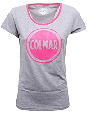 B6462 maglia donna COLMAR maglie grigio melange/rosa fluo t-shirt woman