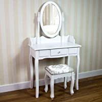 Vida Designs Nishano Dressing Table With Stool 1 Drawer Oval Adjustable Mirror Bedroom Set Makeup Cosmetics Dresser Furniture, White