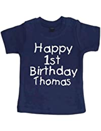 Personalized Childrens Navy t-shirt 'Happy 1st birthday (YOUR CHOSEN NAME)'