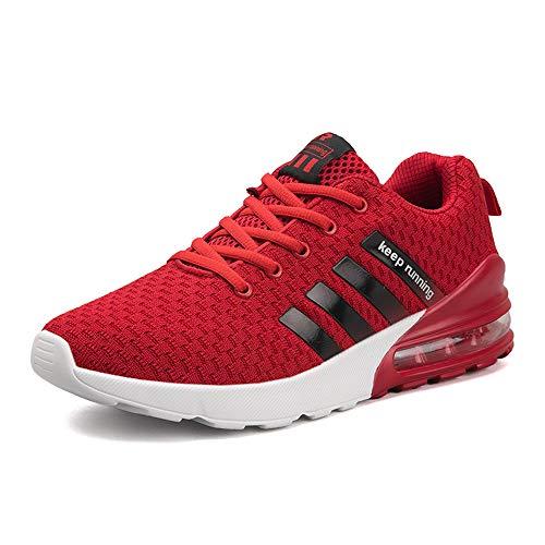 MUOU Uomo Scarpe da Ginnastica Basse Uomo Scarpe da Tennis Uomo Corsa Sportive Running Sneakers Uomo Fitness Casual (43 EU,Rosso)