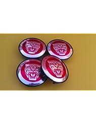 Jaguar Alloy Wheel Centre Caps Badges RED / Nabendeckel Felgendeckel Nabenkappen Logo Rot 57mm Teilenummer 8W93-1A096