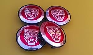 Jaguar Alloy Wheel Centre Caps Badges RED/Nabendeckel