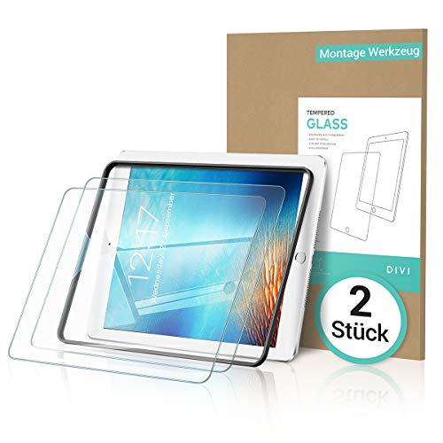 DIVI [2 Stück Panzerglas für iPad 9.7 6.Generation iPad 2018 / iPad 2017 / [Montage Werkzeug] Schutzfolie kompatibel mit iPad Air 2 / iPad Pro 9.7 Zoll, Gehärtetem Glas Folie für Apple Pencil