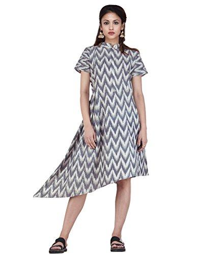 Unnati Silks Women Sloka Weaves Cream-black Pure Handloom Pochampally Cotton Kurta