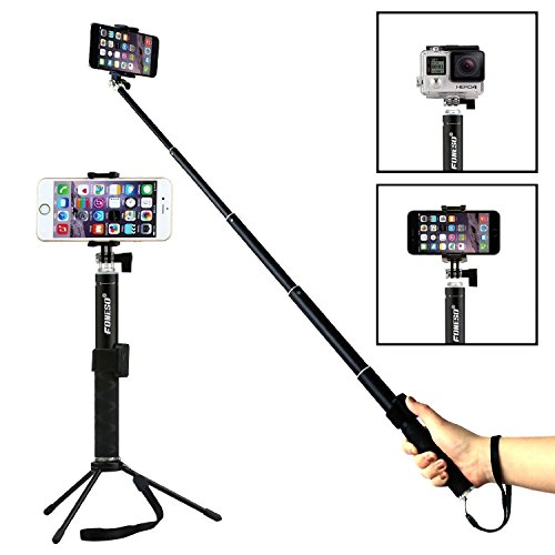 Foneso Selfie Stick, Foneso Ultra Compact Durable Selfie Monopod with Tripod for iPhone 6s/6s Plus/6/6 Plus, iPhone 4 5 5s 5c, Android Smartphones,Gopros and Compact Cameras, Black