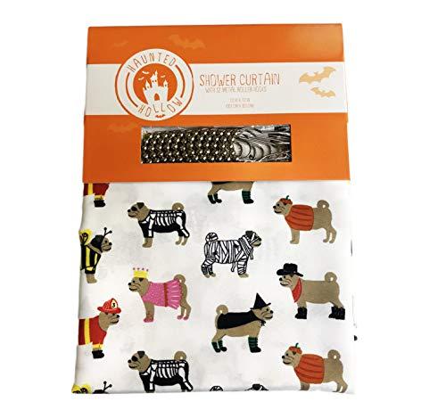 Süße Mops Hunde in festlichen Kostümen Happy Halloween Motto Duschvorhang mit 12 Metall-Rollhaken