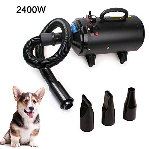 Topwill 2400W Pet Dog Pet Pet Dog Drying, Pet Dryer Low Noise (60dB) Cane Toelettatura Asciugacapelli Pet Dryer (Nero)
