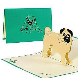 Hundekarte mit Mops, Karte mit Haustier zum Geburtstag oder als Glückwunschkarte, Geburtstagskarte als Gutschein oder eine tolle Überraschung, Geschenk F17