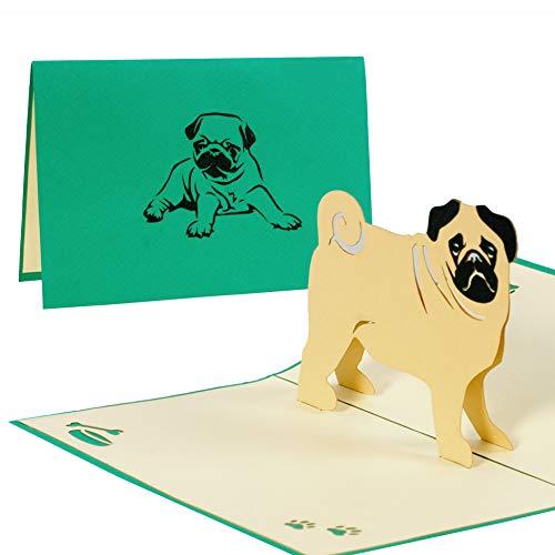 Hundekarte mit Mops, Karte mit Haustier zum Geburtstag oder als Glückwunschkarte, Geburtstagskarte als Gutschein oder eine tolle Überraschung, Geschenk F17 Le Mop