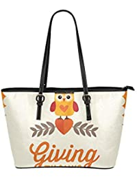 0558cc9807 Enhusk Golden Happy Thanksgiving Celebration Large Soft Leather Portable Top  Handle Hand Totes Borse Causali Borse