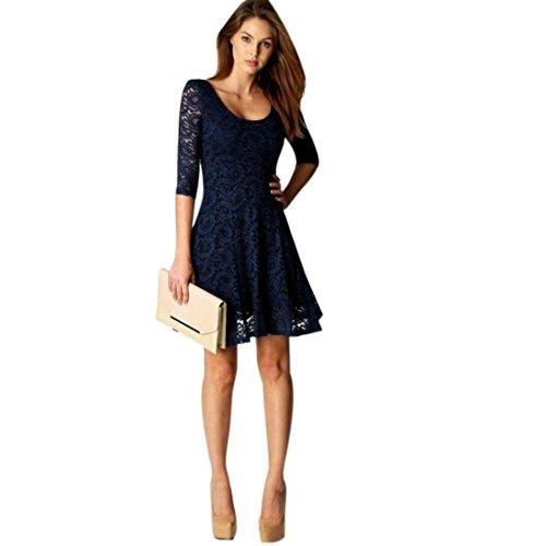 (Elecenty Damen Knielang Kleider Spitzekleid Soilde Minikleid Frauen 3/4 Ärmel Mode Kleid Kleidung Rundhals A-Linie Partykleid Abendkleider Sommerkleid (M, Blau))
