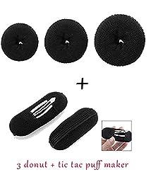 Homeoculture Pack of 3 hair donuts All 3 different sizes + 2 Pcs Black Sponge Hair Clip Volume Bumpit Padding Bun Updo