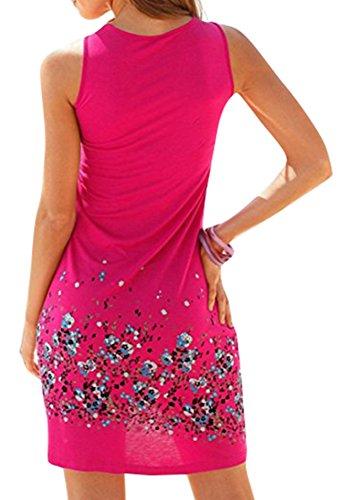 fadc282b699d  AUSVERKAUF++++  ELFIN Sommerkleider Damen Kurzarm V-Ausschnitt Blumen  StrandKleid MaxiKleider Abendkleid Knielang Rose