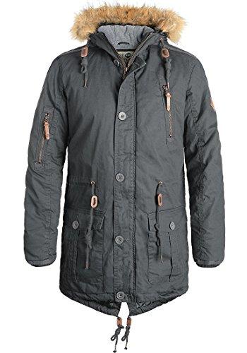 !Solid Clark Herren Winter Jacke Parka Mantel Lange Winterjacke gefüttert aus 100% Baumwolle mit Kunst-Fellkapuze, Größe:XXL, Farbe:Dark Grey (2890)