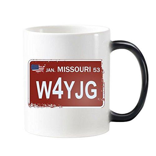 DIYthinker Usa American Car License Plate Nummer Missouri Kreative Illustration Muster Morphing Wärmeempfindlicher Farbe ändern Becher-Schale Milchkaff Mehrfarbig