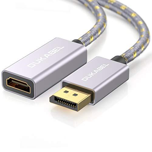 DuKabel DisplayPort auf HDMI Adapter Full HD 1080p Vergoldet DP Stecker zu HDMI Buchse Konverter mit Audio-Übertragung für PC Laptop - Grau