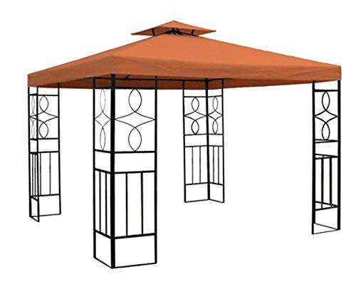 WASSERDICHTER Pavillon 3x3 m Terrakotta ROMANTIKA Metall inkl. Dach Festzelt wasserfest Partyzelt