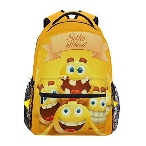Gelbe Smiley-Emoji-Gesichter, Reise-Laptoprucksack, Tagesrucksack, wasserabweisend, für Schule, Computer, Büchertasche für Damen und Herren, Outdoor-Camping, für bis zu 35,6 cm (14 Zoll) Notebooks