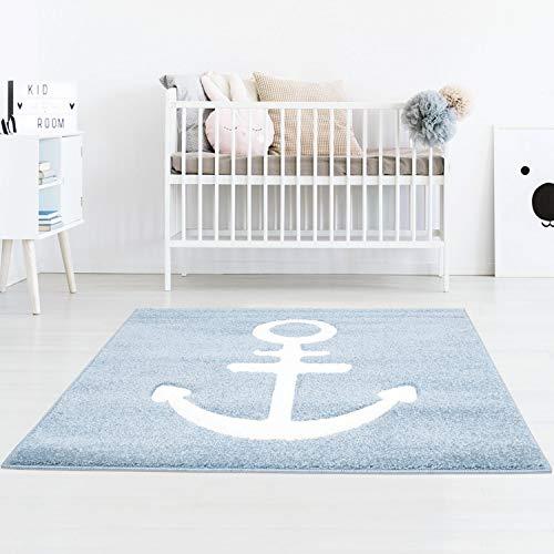 Taracarpet Kinderzimmerteppich für Jungen Anker Maritim Blau Dreamland Anker Blau 100x100 cm