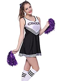 maboobie Tenue Complete Debardeur Jupe a Volant Pom-Pom Girls Cheerleader Noir a Rayures Blanches av/ 2 Pompons XL (42-44)
