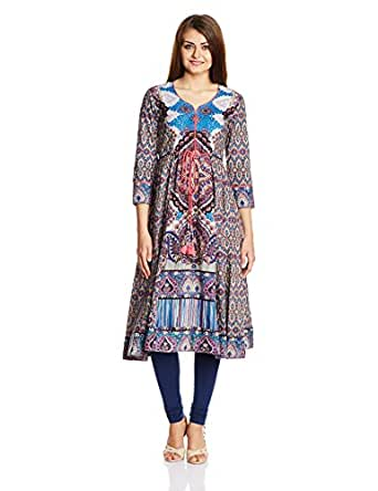 Rain and Rainbow Women's Anarkali Kurta (4601-15/33-1_BLUE_X-Large)