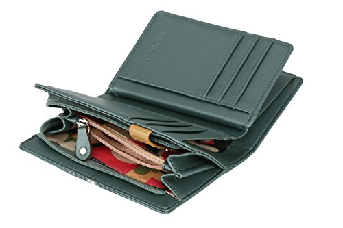 Borsa RFID portafoglio MENKAI disegno civetta gufo 64-C2 nero Balsam Green