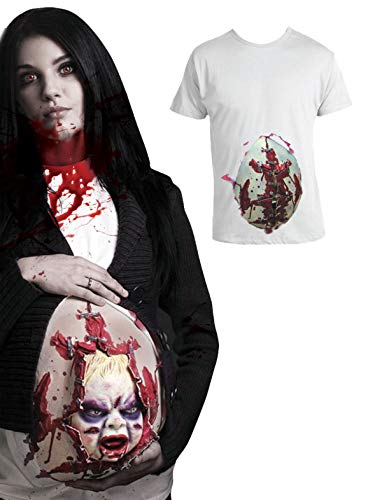 (Funny Fashion Kostüm Shirt Zombie Geburt Halloween Horror Grusel Schwangere Zombie Frau T-Shirt mit Baby Pierros)