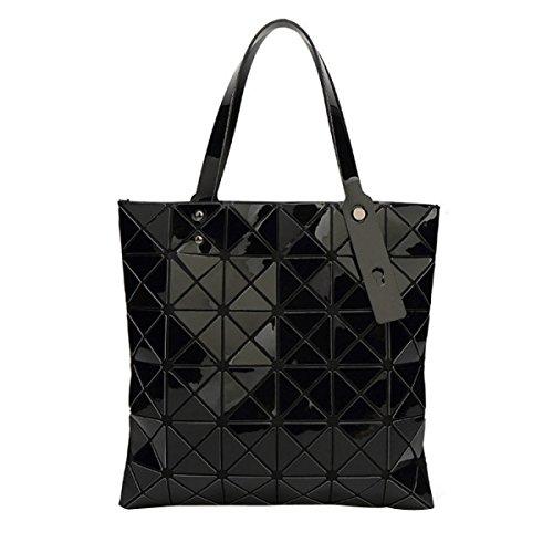 Borse A Tracolla Geometriche In Pelle Plaid Artigianale In Pelle PU Black