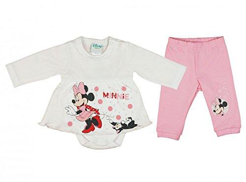 Mädchen Baby-Set 2-teilig von Minnie Mouse in GRÖSSE 56, 62, 68, 74, 80, 86 im Lagen-Look, Baby-Schlafanzug mit Druck-Knöpfen, Spiel-Anzug mit T-Shirt-Baby-Body und Langer Hose Color Weiss, Size 68