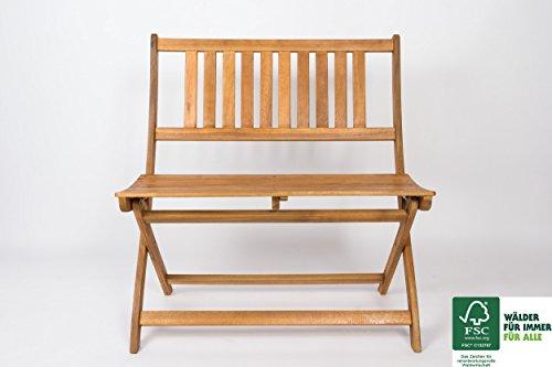 SAM Sitzbank aus Akazie, geschliffen & geölt, Garten-Möbel aus Holz, zusammenklappbar, FSC 100% zertifiziert, massive Holzbank, pflegeleichtes Unikat